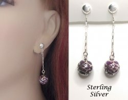 Unique Sterling Silver Clip On Earrings with Dangling Chime Ball