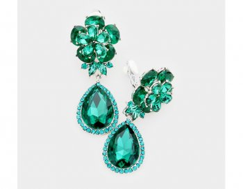 Long Drop Clip On Crystal Earrings with Faux Emerald Crystals