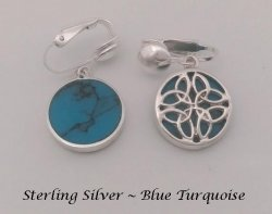 Clip On Earrings, Celtic Knot, Sterling Silver, Blue Turquoise