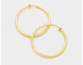 Clip On Hoop Earrings Smooth Gold Finish | Hoop Earrings