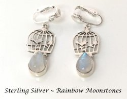 Birdcage Sterling Silver Clip On Earrings with Moonstone Gems