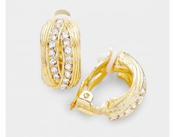 Elegant Gold Clip On Earrings Half Hoop, Dazzling Rhinestones