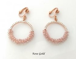 Rose Gold Modern Fashion Clip On Casual Earrings with Crystals