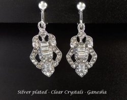 Clip On Earrings, Silver with Crystals, Costume Clip-on Earrings