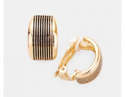 Stylish Gold Half Hoop Clip-On Earrings, Black Embossed Design