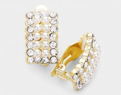 Clip On Pearl Earrings Gold with Dazzling Crystals