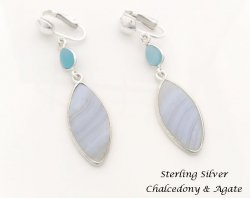 Clip On Earrings, Sterling Silver, Chalcedony and Agate Gems