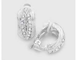 Silver Clip On Crystal Earrings Half Hoop Textured Design