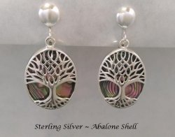 Clip On Earrings with Abalone Shell in Sterling Silver