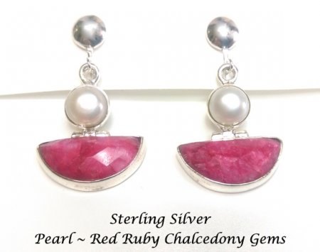 Sterling Silver Clip Earrings, Red Ruby Chalcedony & Pearl