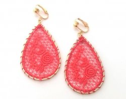 Red Embroidered Drop Clip On Gold Earrings by Dazzlers