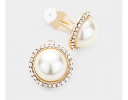 Large Pearl Clip On Earrings in Gold with Dazzling Crystal Pave