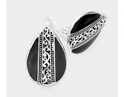 Antique Style Teardrop Silver and Black Clip On Earrings