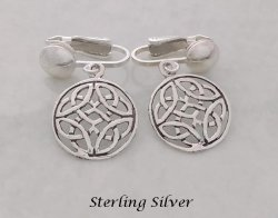 Sterling Silver Clip On Earrings with Celtic Knots Design