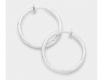 Large Hoop Clip On Earrings Textured Silver Finish | Hoops