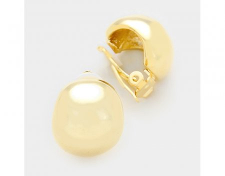 Classy Domed Gold Clip On Earrings Button Style