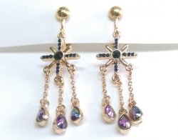 Dangle Clip On Earrings with Dazzling Crystals and Drop Chains