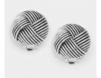 Silver Antique Style Clip On Earrings, Round Knots Design