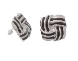 Silver Vintage Style Clip On Earrings in a Classic Knot Design