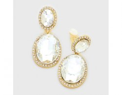 Classy Clip On Earrings with Clear Crystals, Gold Trim