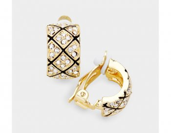 Fabulous Clip On Earrings, Gold with Rhinestones & Embossing
