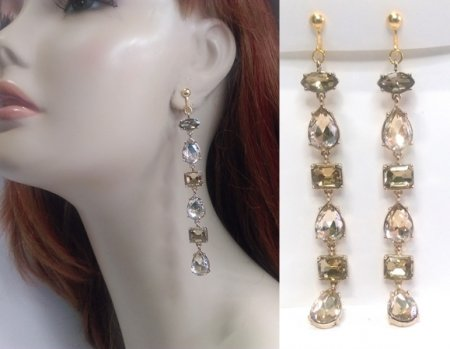 Long Drop Dangle Clip On Earrings with Faux Gem Crystals