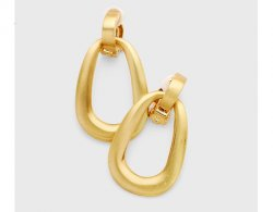 Gold Clip On Earrings Drop Style, Door Knocker | Dazzlers