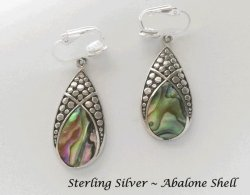 Abalone Shell set in Sterling Silver Clip-on Earrings