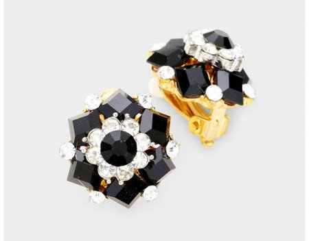 Stone Cluster Clip On Earrings Black and Clear Crystals