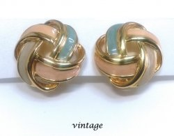Vintage Clip On Button Earrings Gold with Enamel Pastel Colours