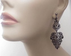 Black Filigree Fashion Clip On Earrings, Long Drop, 2 Tier