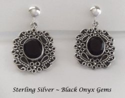 Ornate Bezel Design Sterling Silver Clip Earrings, Black Onyx