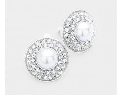 Pearl Clip On Earrings, Silver with Shimmering Crystal Pave