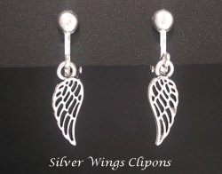 Fashion Clip On Earrings, Elegant Silver Plated Wings