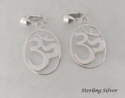 Sterling Silver Clip On Earrings with Iconic OM Symbol