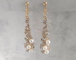 Gold Clip On Earrings with Faux Pearls & Crystals by Dazzlers