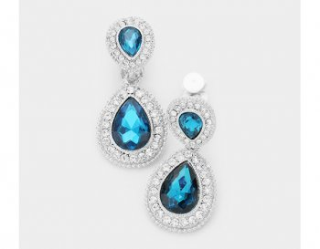 Dazzling Clip On Crystal Earrings Zircon Blue and Clear Crystals