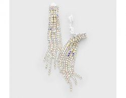 Long Statement Fringe Clip On Earrings with Rhinestones