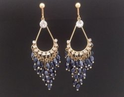 Chandelier Clip On Earrings, Gold, CZ's, Crystals | Dazzlers