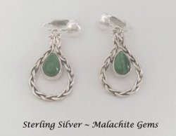 Sterling Silver Dangle Clip On Earrings with Malachite Gems