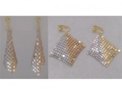 Clip On Earrings in a Shimmering Gold and Silver Mesh