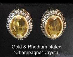Retro Style Champagne Crystal Clip On Earrings | by Dazzlers