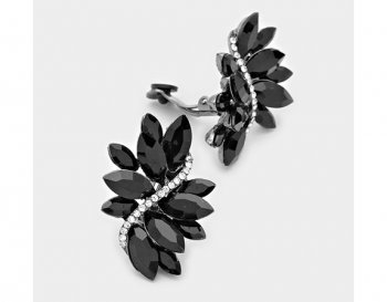 Black Marquise Crystal Retro Clip On Earrings, Large | Dazzlers