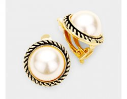 Classic Pearl Clip On Earrings with Gold Retro Rope Border