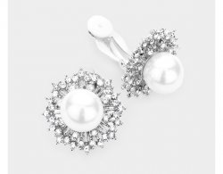 Pearl Clip On Earrings with Fabulous Crystals on Silver Base