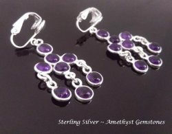 Clip On Chandelier Earrings, Amethyst Gems, Sterling Silver