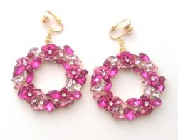 Large Crystal Clip On Earrings, Pink and Clear Crystals