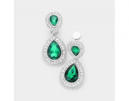 Dangle Clip On Earrings with Emerald Green and Clear Crystals
