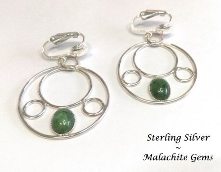 Sterling Silver Clip On Hoop Earrings with Malachite Gems