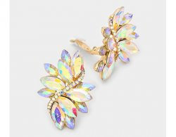 Clip On Earrings with Dazzling Marquise Crystals, Retro Style